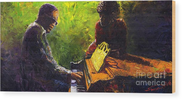 Jazz Wood Print featuring the painting Jazz Ray Duet by Yuriy Shevchuk