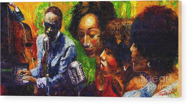 Jazz Wood Print featuring the painting Jazz Ray Song by Yuriy Shevchuk