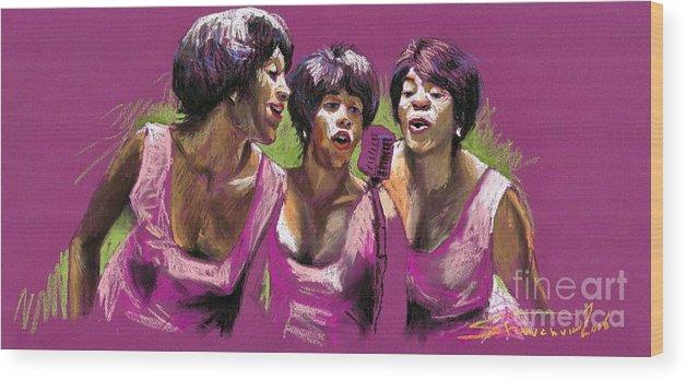 Jazz Wood Print featuring the painting Jazz Trio by Yuriy Shevchuk