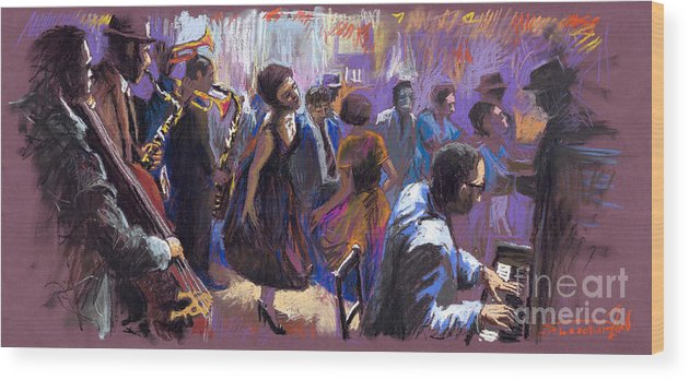 Jazz.pastel Wood Print featuring the painting Jazz by Yuriy Shevchuk