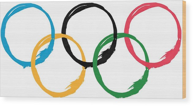 Olympics Wood Print featuring the digital art Olympic Ensos by Julie Niemela