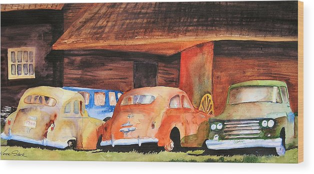 Car Wood Print featuring the painting Rusting by Karen Stark