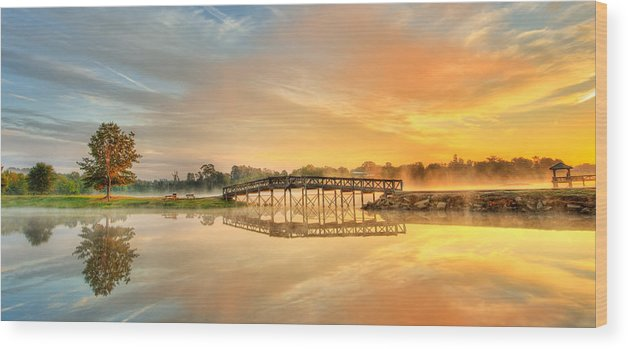 Arkansas Wood Print featuring the photograph Sunrise At Sunset Lake by John Bingaman