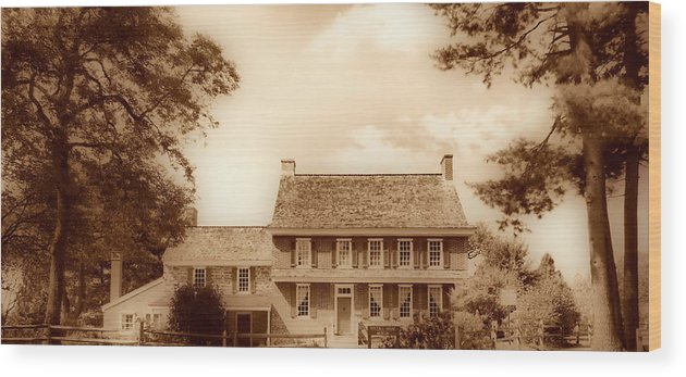 Hdr Wood Print featuring the photograph Whitall House Redbank Nj Sepia Hdr by Thomas MacPherson Jr