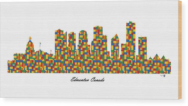 Fine Art Wood Print featuring the digital art Edmonton Canada Building Blocks Skyline by Gregory Murray