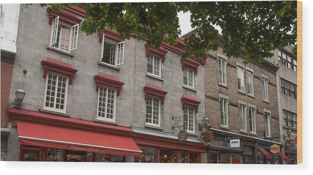 Landscape Wood Print featuring the photograph Windows Of Quebec City by Rosemary Legge