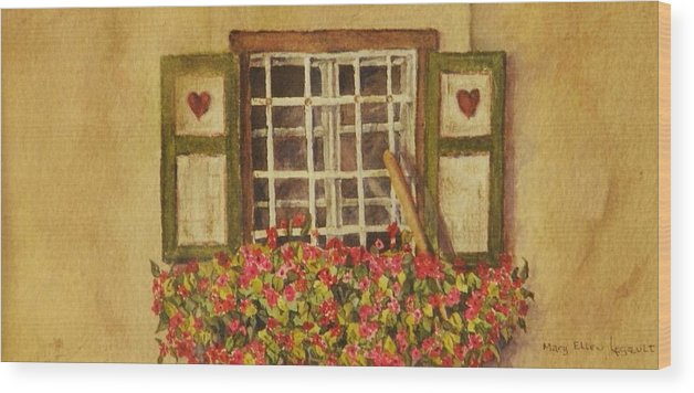 Rural Wood Print featuring the painting Farm Window by Mary Ellen Mueller Legault