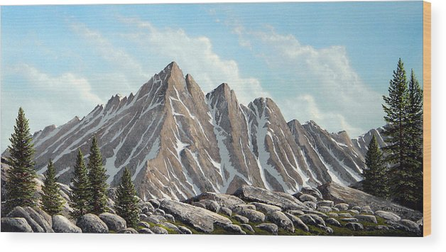 Landscape Wood Print featuring the painting Lofty Peaks by Frank Wilson