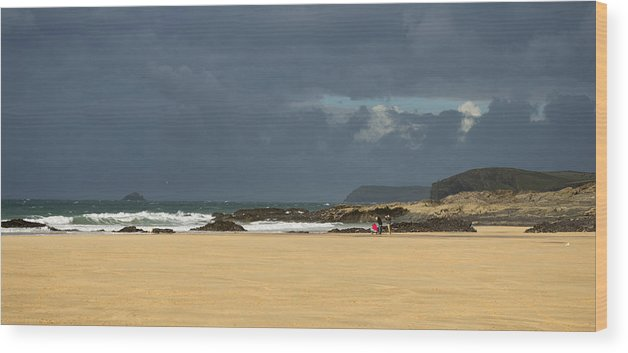 Harlyn Bay Wood Print featuring the photograph Harlyn Bay In Cornwall by Pete Hemington
