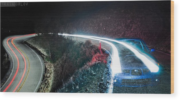 Car Cars Audi Night Dark Red White Wood Print featuring the photograph Start And Stop by Alexey Orlov