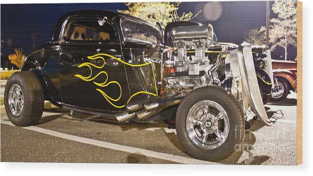 Car Photographs Wood Print featuring the photograph Black Hot Rod Big Engine by Al Nolan