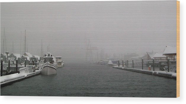 Harbor Wood Print featuring the photograph Laid Up II by Michael Wyatt