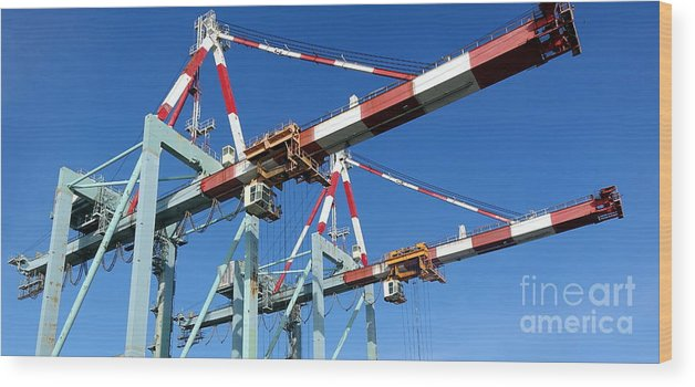 Dock Wood Print featuring the photograph Detail View Of Container Loading Cranes by Yali Shi