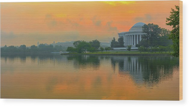 Architecture Wood Print featuring the photograph Foggy Sunrise At The Tidal Basin by Dennis Kowalewski