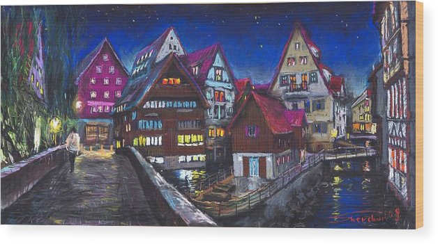 Pastel Wood Print featuring the painting Germany Ulm Fischer Viertel by Yuriy Shevchuk