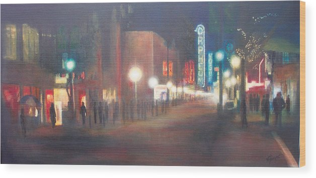 Downtown Wood Print featuring the painting Glow by Victoria Heryet