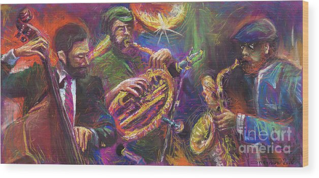 Jazz Wood Print featuring the painting Jazz Jazzband Trio by Yuriy Shevchuk