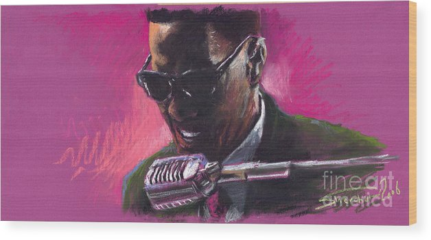 Jazz Wood Print featuring the painting Jazz. Ray Charles.1. by Yuriy Shevchuk