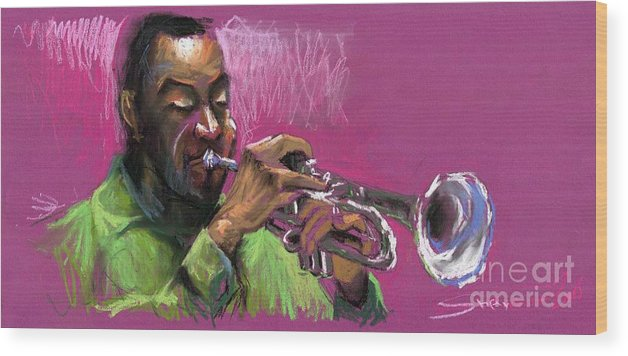 Jazz Wood Print featuring the painting Jazz Trumpeter by Yuriy Shevchuk