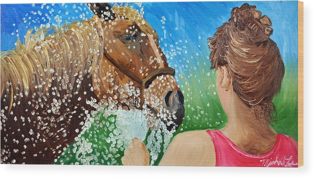Horse Wood Print featuring the painting Sara Washes Her Horse by Michael Lee