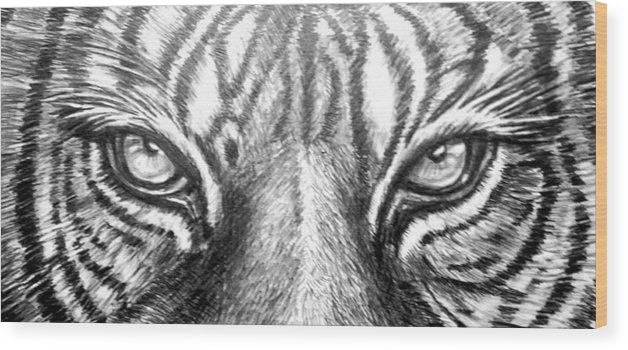 Tiger Eye Wood Print featuring the drawing Tiger Eye82115 by Hae Kim