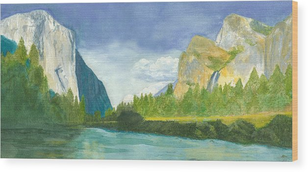 Yosemite Mountains Wood Print featuring the painting Yosemite by Jo Baby