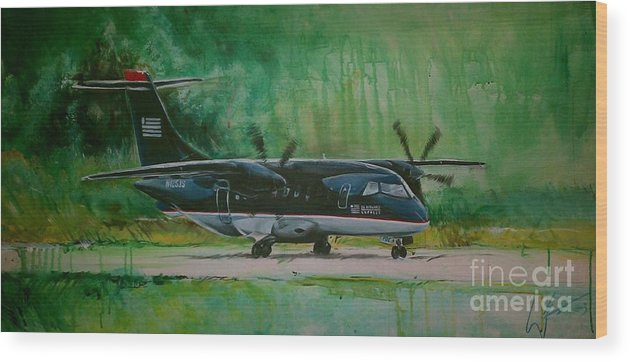 Aviation Wood Print featuring the painting Dornier 328 Usairways Psa by William III