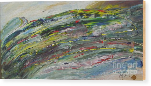 Abstract Wood Print featuring the painting Faster by M J Venrick