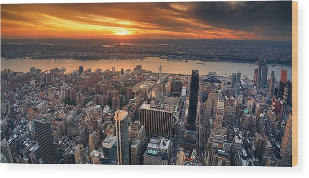 New York City Wood Print featuring the photograph New York City Sunset Panorama by Songquan Deng
