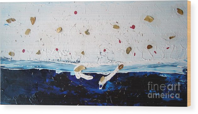 Leaves Wood Print featuring the painting Ocean Of Leaves by Holly Picano