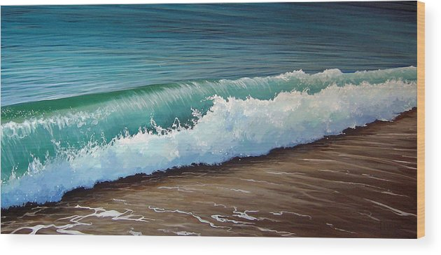 Wave On A Florida Beach Wood Print featuring the painting To The Shore by Hunter Jay