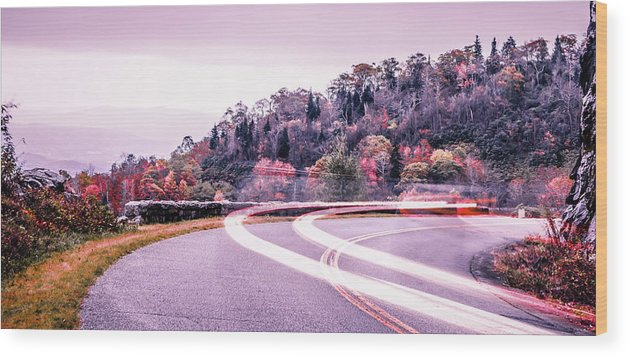 Mountain Wood Print featuring the photograph Autumn Season On Blue Ridge Parkway by Alex Grichenko