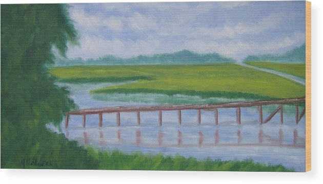 Marsh Wood Print featuring the painting Bald Head Island Marsh by Justin Holdren