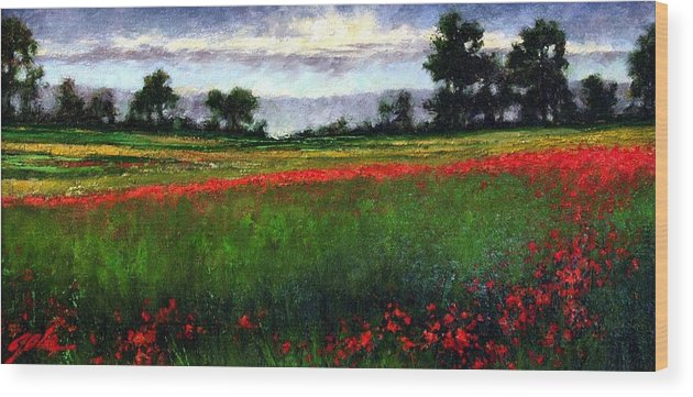 Landscape Wood Print featuring the painting Colorburst by Jim Gola