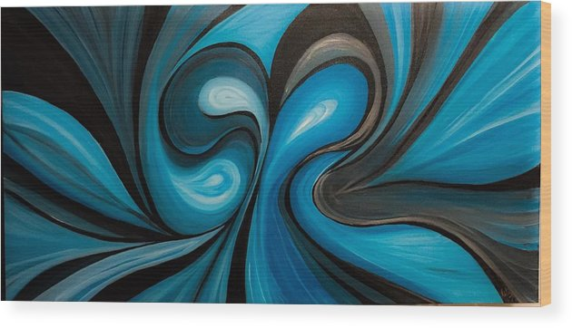 Abstract Wood Print featuring the painting Enchanted Blue Waves by Ritu Kumar