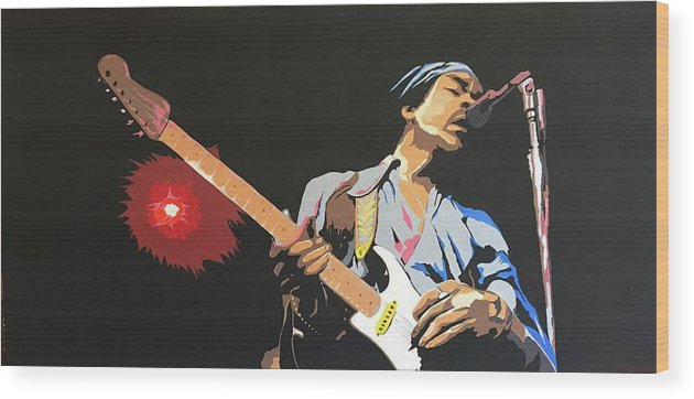 Jimi Hendrix On Stage Wood Print featuring the painting Hendrix 4 by Ken Jolly