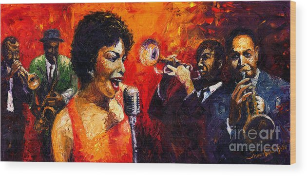 Jazz.song.trumpeter Wood Print featuring the painting Jazz Song by Yuriy Shevchuk