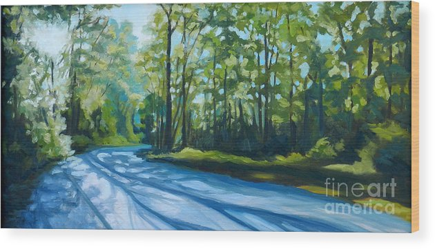 Blue Wood Print featuring the painting Morning Walk by Kimberly Daniel