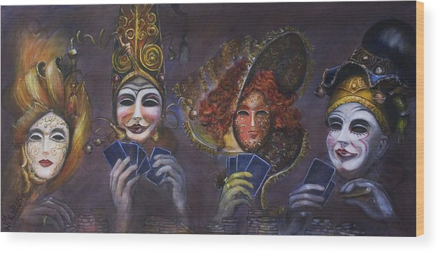Masks Wood Print featuring the painting Poker Face by Nik Helbig
