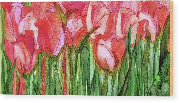 Carol Cavalaris Wood Print featuring the mixed media Tulip Bloomies 4 - Red by Carol Cavalaris