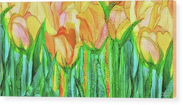 Carol Cavalaris Wood Print featuring the mixed media Tulip Bloomies 4 - Yellow by Carol Cavalaris