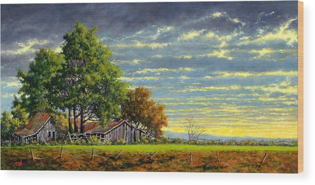Landscape Wood Print featuring the painting Dusk by Jim Gola