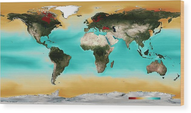Map Wood Print featuring the photograph Ocean Carbonate Saturation by Noaa