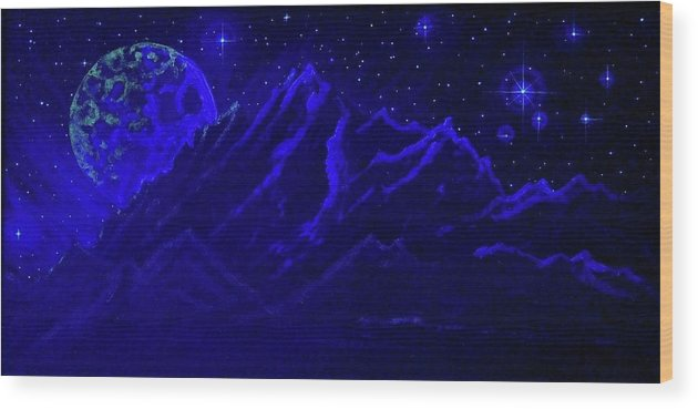 Cosmic Light Series Wood Print featuring the painting Cosmic Light Series by Len Sodenkamp