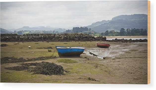 Seascape Wood Print featuring the photograph Asturias Seascape With Boats by Frank Tschakert