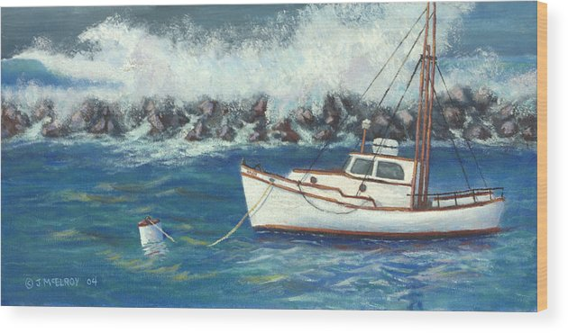 Ocean Wood Print featuring the painting Behind The Breakwall by Jerry McElroy