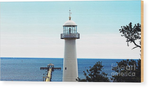 Seascape Wood Print featuring the photograph Biloxi Lighthouse 4 by Earl Johnson