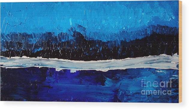 Blue Wood Print featuring the painting Blues by Holly Picano