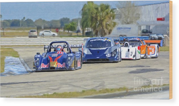 Automobile Wood Print featuring the photograph Gtp Prototypes Taking 4 At Sebring by Tad Gage