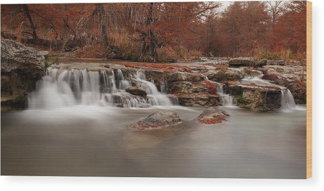 State Park Wood Print featuring the photograph Guadalupe River Panorama by Paul Huchton